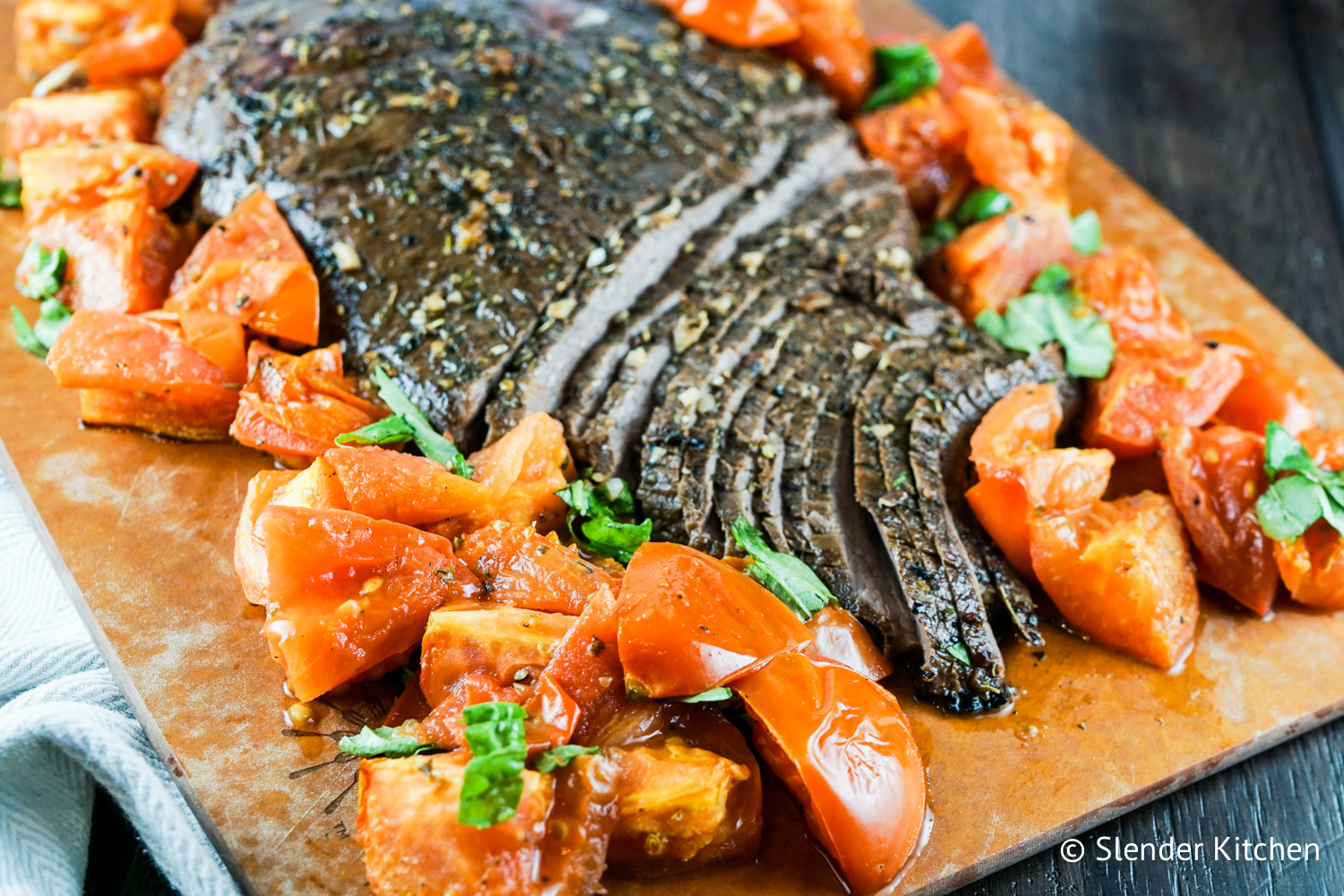 Balsamic Flank Steak with Roasted Tomatoes
