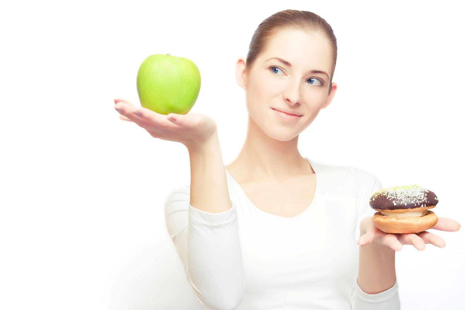 Woman choosing between Unhealthy Foods